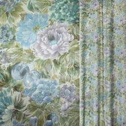 Сатин для штор квіти бузково-блакитні, листя болотні, ш.143