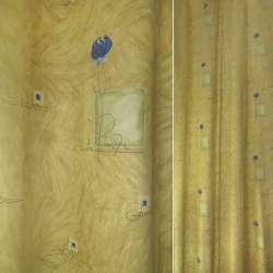 Сатин портьерный желтый с синими цветами и квадратиками, ш.140