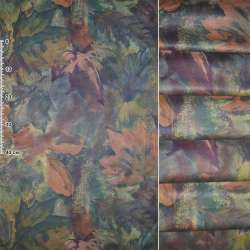 Сатин портьерный зеленый в зеленые,фиолетовые,терракотовые цветы ш.140