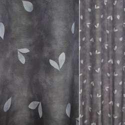 Поликоттон серый с светлыми листьями ш.140