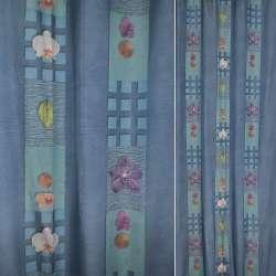 Полікотон бирюзово блакитні смуги в квадрати з квітами, листям ш.140