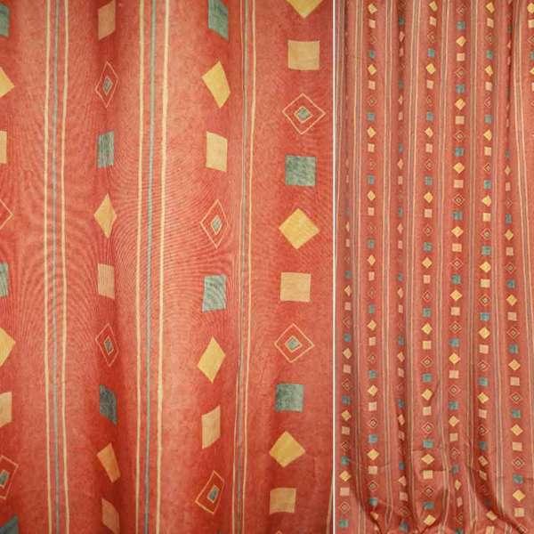 Поликоттон оранжевый в бежевые и зеленые полосы и квадраты ш.140