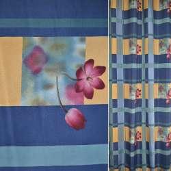 Поликоттон сине желтый в клетку с бордовыми цветами ш.154