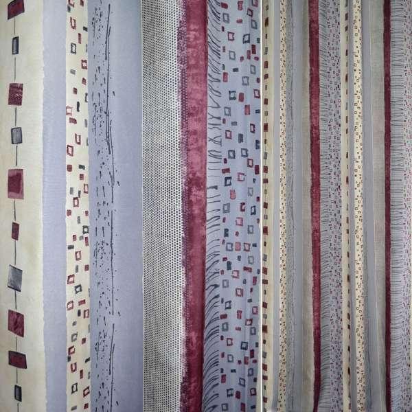 Поликоттон в молочные,бордовые и серые полосы с квадратами ш.140