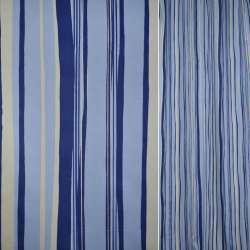 Сатин голубой в молочно-синю смужку ш.140