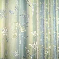Сатин салатово-блакитний з квітами ш.140