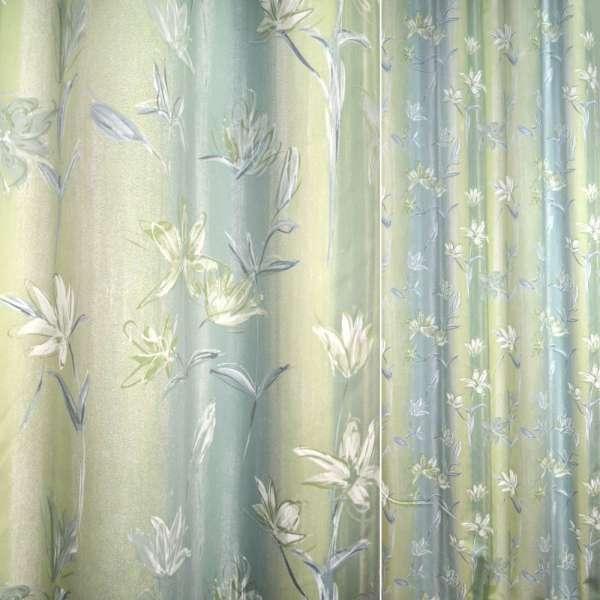 Сатин салатово-голубой с цветами ш.140