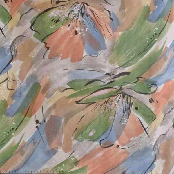 Коттон серый с разноцветными разводами и красными цветами ш.140