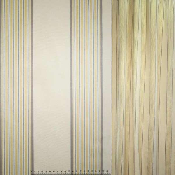 Коттон жаккардовый бежевый с желто-серыми полосками ш.145