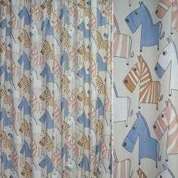 Ткань порт. молочная с бежево-голубыми зебрами ш.280