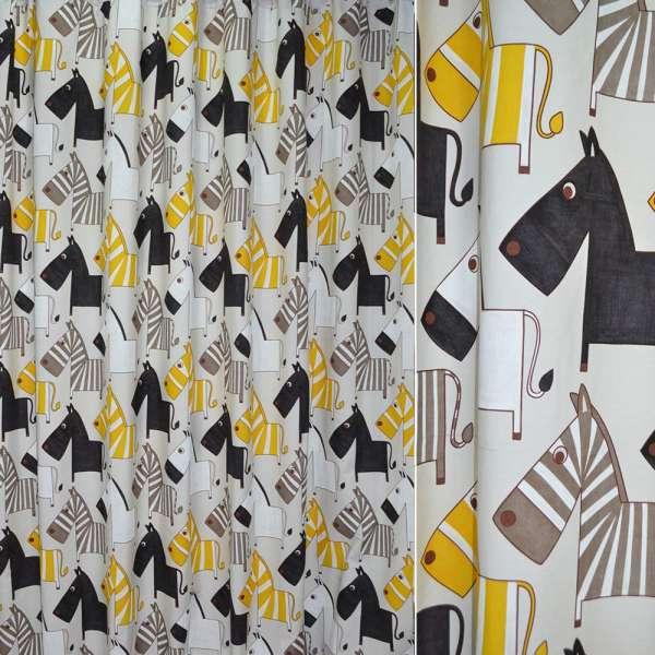 Ткань порт. молочная с желто-черными зебрами ш.280