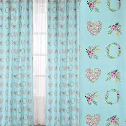 Коттон портьерный бирюзовый, цветочные венки, сердечки, ш.140