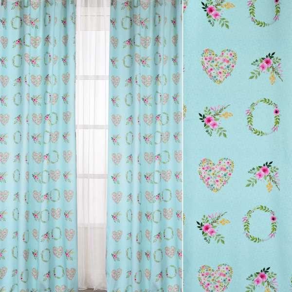 Коттон Портьєрні бірюзовий, квіткові вінки, сердечка, ш.140