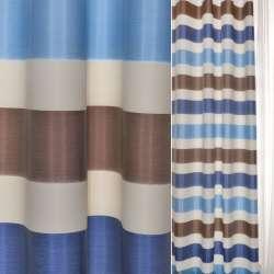ДЕКО тафта коричнево-білі + сині смужки Німеччина ш.150