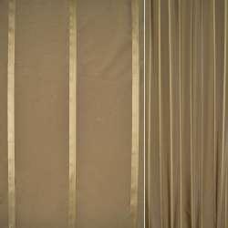 Тафта пісочно коричнева в бежеві смужки ш.145