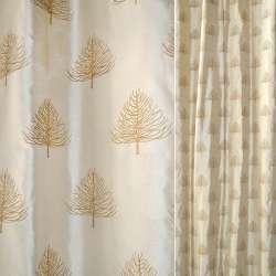 Шелк натуральный золотистый,вышитый деревьями ш140