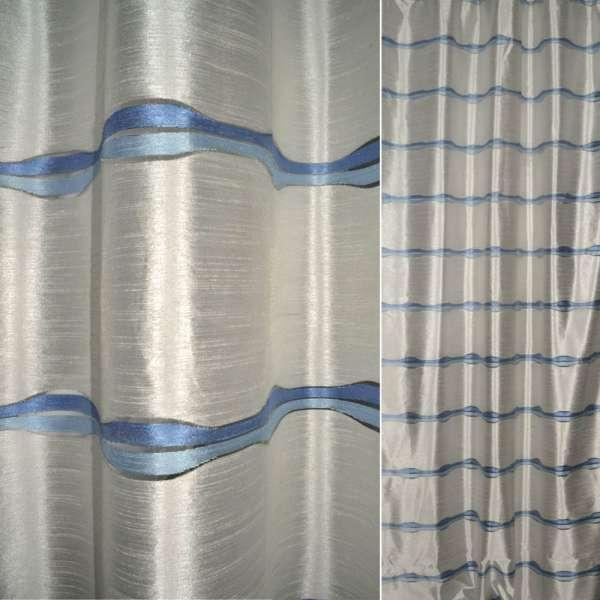 Шелк молочный в голубые полоски ш.140