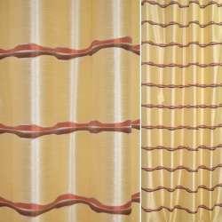 Шовк жакард для штор хвилі коричневі, теракотові на золотистому тлі, ш.140