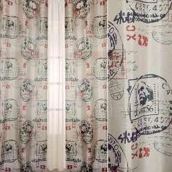 Шелк портьерный матовый бежевый в черные, красные почтовые штампы, ш.140