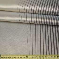Шовк портьєрний сріблясто-бежевий в сірі вузькі смужки, ш.300