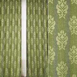 Шенілл жакардовий FUGGERHAUS сіро-зелена смужка + орнамент, з уважнювачем, ш.300