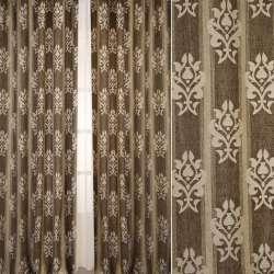 Шенілл жакардовий FUGGERHAUS бежево-сіра смужка + орнамент, з уважнювачем, ш.300