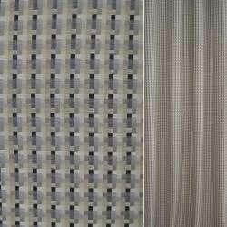 Рогожка бежево-сіра в чорні смужки ш.140