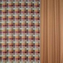 Рогожка оранжево-красная в бежево-коричневые полосы ш140