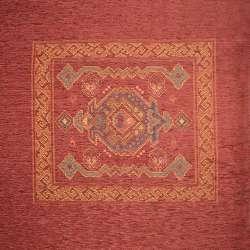 Шенілл подушковий з орнаментом червоний, раппорт 65см (1 подушка), ш.140