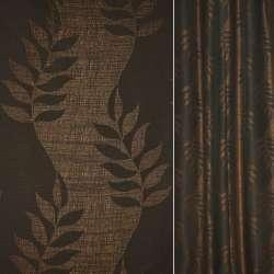 Рогожка CADIZ черно-коричневый с листьями ш.140