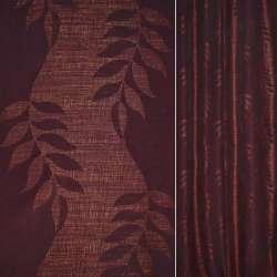 Рогожка CADIZ черно-бордовая с листьями ш.140