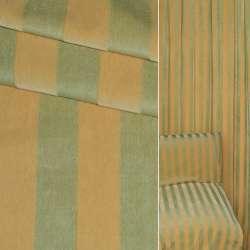 ткань обив. в желто-зеленую полоску (велюр) ш.150