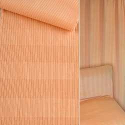ткань обив. абрикосовая в полоску (вельвет) ш.140