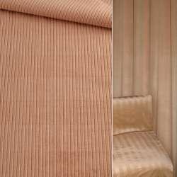 Велюр вискозный мебельный бежевый в жаккардовую  полосу ш.140