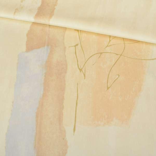 Велюр бежево-абрикосовый с абстрактным рисунком