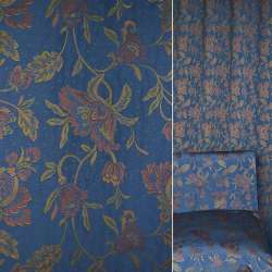 Жаккард меблевий синій в різнокольорові квіти ш.140
