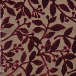Коттон коричневый светлый с велюровыми терракотовыми листьями ш.140