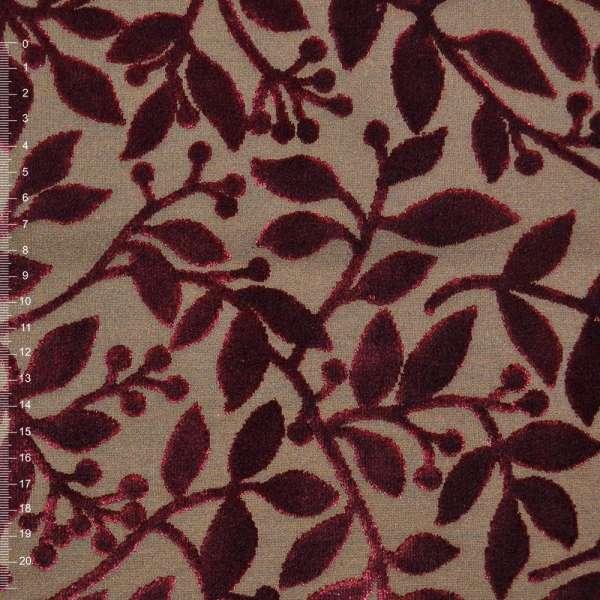 Коттон светло коричневый с велюровыми терракотовыми листьями ш.140