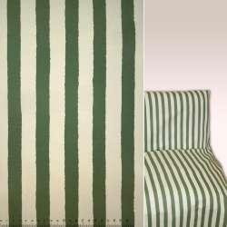 Коттон зелено-кремові смужки ш.144