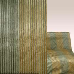Жаккард зеленый в золотисто-зеленые велюровые полоски ш.137