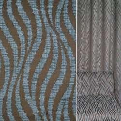 Жаккард коричневий в сірі велюрові хвилі ш.136