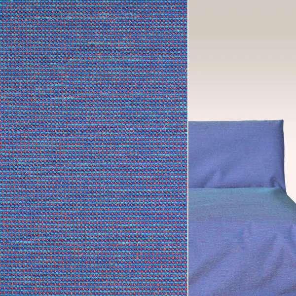 Шенилл синий с розово-голубыми стежками на ПВХ основе ш.140