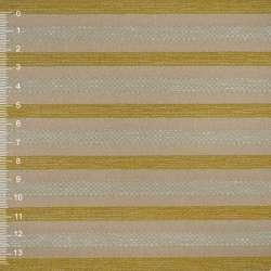 Шенилл золотисто-бежевый в салатовую рельефную полосу на ПВХ основе ш.140