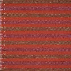 Шенилл терракотовый в оливково-малиновую рельефную полосу на ПВХ основе ш.140