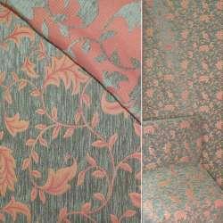Шенилл рогожка темно-оливковая с красным растительным узором ш.140