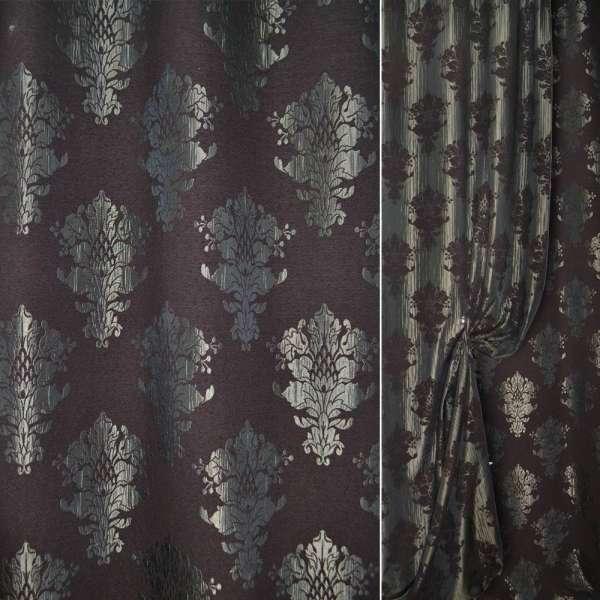 Шеннил фукра коричная в серые вензеля ш.140