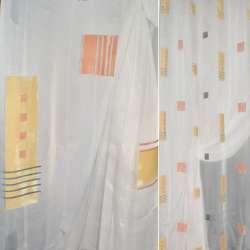 Вуаль деворе молочна з жовтими, помаранчевими квадратами, прямокутниками