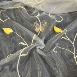 органза  с  желтыми  розами