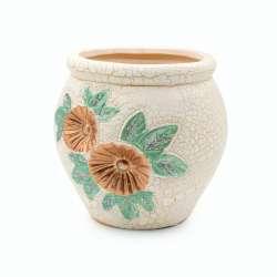Кашпо керамика кракелюр с цветком золотистым 12х12х12см вн. 11,5х8,5х8,5см белое