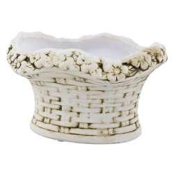 Кашпо керамика корзина с цветами овальная 12х15,5х20,5см вн. 10х16х11,5см бело-коричневое